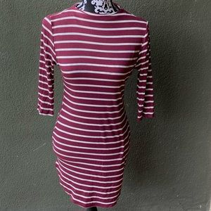 Red/Maroon Sexy striped mini dress